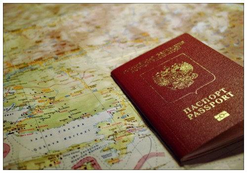 Загранпаспорт на карте.
