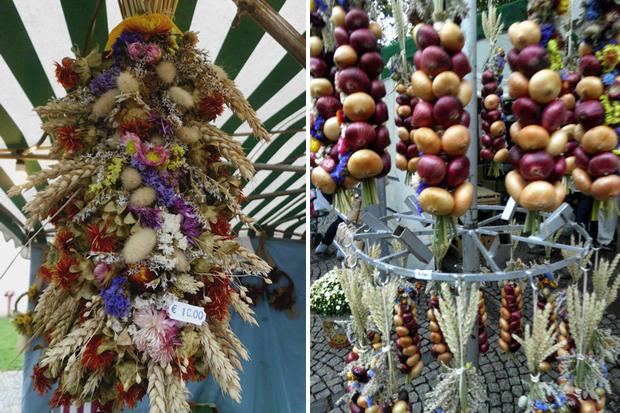 Zwiebelmarkt — луковые венки и букеты из сухих цветов.