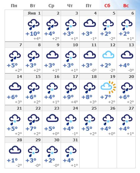 Прогноз погоды в Берлине на январь 2020 года.