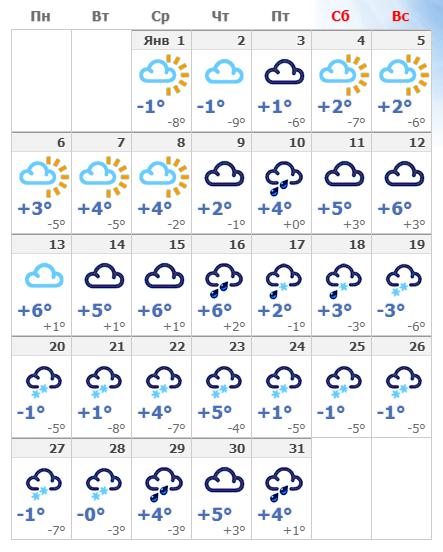 Погодные условия в Мюнхене в январе 2020 года.