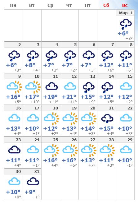 Погодные условия в Кёльне в марте 2020 года.